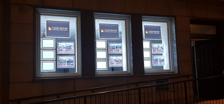 LED Illuminated Light Pocket Window Displays and Signs for Estate Agents, Jedburgh, Borders, Scotland