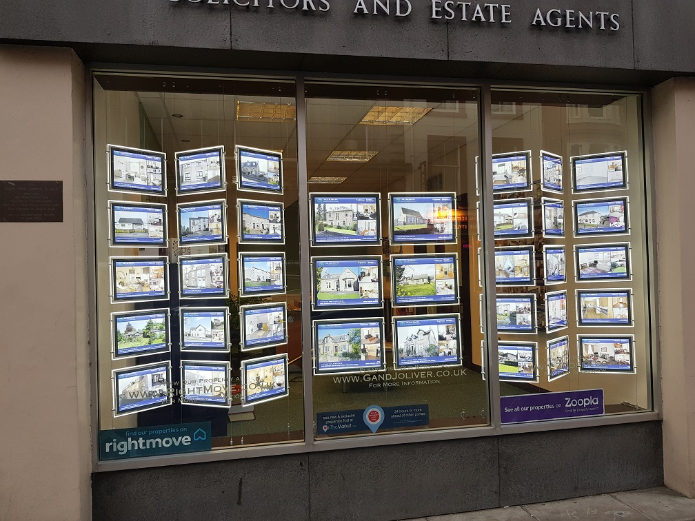 LED window displays for estate agents
