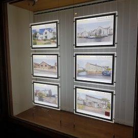 LED Illuminated Light Pocket Window Displays for Estate Agents, West Lothian, Scotland, Mid-Calder