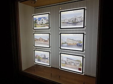 LED Illuminated Light Pocket Window Displays for Estate Agents, West Lothian, Scotland, Mid-Calder