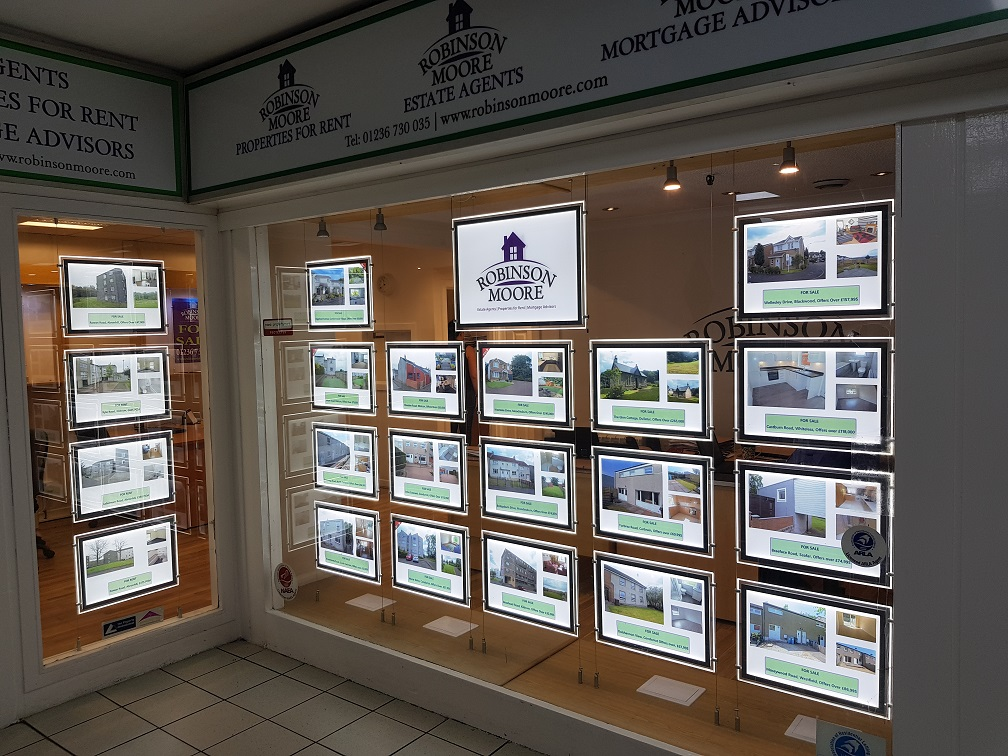 LED Estate Agents Window Display